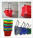 Hot Sale à roues de paniers de magasinage en plastique avec