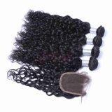 Virgem ondas naturais brasileiras pacotes de cabelo Remy Cabelo com rendas Encerramento