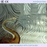 Vidro gravado com ácido 2440 * 3660mm com gravação em relevo francês com vidro acetinado com vidro Sandblasted
