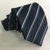 Corbata del poliester de la raya de la marina de los hombres (L027)