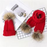 毛皮Ponpomが付いている高品質そして安価な編まれた帽子