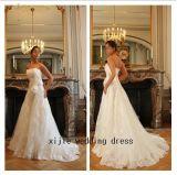 2012 nuova a regale - linea vestito da cerimonia nuziale del fiore di Hnadcraft/abito Ivory (L-31)