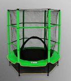 Mini trampolín de interior verde con la red de seguridad