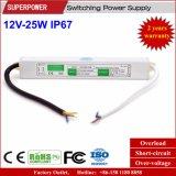 Fuente de alimentación impermeable constante de la conmutación del voltaje 12V 25W LED IP67