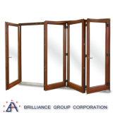 Colore di legno di alluminio del portello di piegatura della Bi con singolo doppio vetro