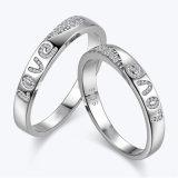 Joyería de Plata diamante allanar grabado con una pareja de amor Juego de anillo