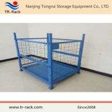 Jaula de malla de alambre plegable y apilable de servicio pesado para almacenamiento de almacenes