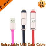 Câble USB de données rétractables et de recharge 2 en 1 pour iPhone, Android et iPad