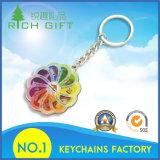 Keyrings feitos sob encomenda do OEM do couro Keychains/do metal da venda quente com logotipo colorido