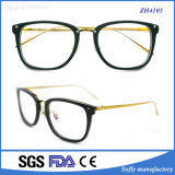 Acetato de bastidor de alta calidad óptica gafas con patillas de metal