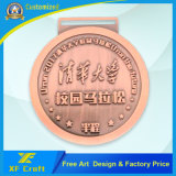 専門の中国の締縄(XF-MD25)が付いている工場によってカスタマイズされる金属の記念品の円形浮彫り