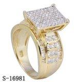 Alta qualità 925 anelli placcati d'argento delle signore dell'oro giallo degli anelli della CZ