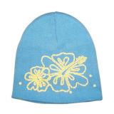 Chapéu de confeção de malhas azul com flor (JRK161)