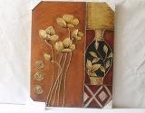 Zwarte Vaas met BloemenPatroon voor het Decoratieve Canvas van het Huis