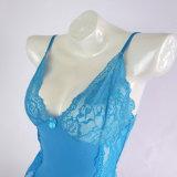 Сексуальное голубое женское бельё сатинировки