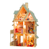 Casa de muñeca de madera azul 2017 para el regalo