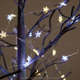 Шнура рождества звезды 40 микро- теплой белой освещаемый батареей СИД
