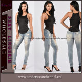Moda fábrica mejor venta Light Blue Jeans Denim lavado lagrimal Slim