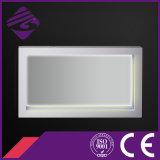 Cadre en bois LED rétro-éclairé tactile Miroir écran de salle de bains avec horloge