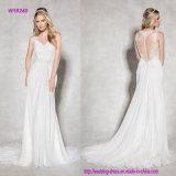 Романтичное Flattering шифоновое платье венчания с затейливой задней частью иллюзиона шнурка