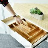 Organizador de bambu expansível da gaveta com divisores ajustáveis