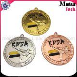 Medaglie poco costose di sport del metallo su ordinazione all'ingrosso placcate rame con il nastro