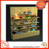 Cremalheira de indicador de madeira de varejo da sapata para a loja