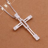 De in het groot Halsband van de Tegenhanger van CZ van de Juwelen van de Manier Zilver Geplateerde Dwars Unisex-