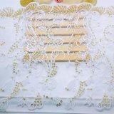 Merletto pieno del tessuto di nuova di disegno della fabbrica delle azione del commercio all'ingrosso 1.3m di larghezza del ricamo micro della fibra di scintillio dei Sequins del merletto del ricamo immaginazione chimica della guarnizione per i vestiti