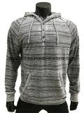 Sweat à capuche gris rayé imprimé pour hommes avec brûlure
