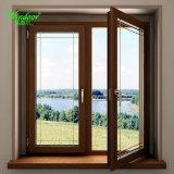 Deux profilés PVC Coextrusion Fenêtre couleur, à l'extérieur en bois couleur du grain de l'intérieur de la fenêtre en PVC de couleur blanche