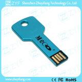 Вспышка USB формы медного штейна алюминиевая ключевая с логосом (ZYF1729)