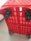 Panier à provisions en plastique de roulement avec des roues
