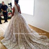 O luxo destacável profundo nupcial do trem de V-Back do vestido de esfera do laço do barco floresce o vestido de casamento G1783