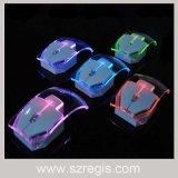 Мышь радиотелеграфа 2.4G цветастой сурдинки компьютера подарка светящая ультратонкая прозрачная