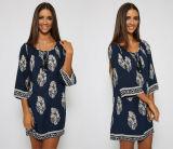 卸し売り長い袖の葉の印刷の女性は西部の服を緩める