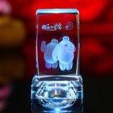 3D Crystal Laser Gravure Cube Craft for Souvenir Décoration en verre