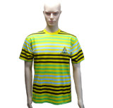 Gestreiftes Unisext-Shirt mit Stickerei-Firmenzeichen in Mischfarbe