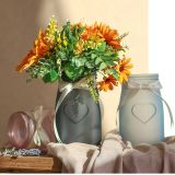Diseño de corazón escarchado vidrio jarrón de flores