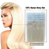 Prolonge blonde de cheveu de bande du platine #60