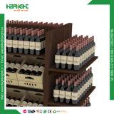 Exposición del almacén de madera estante de vino de pantalla