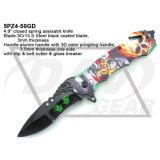 """4.9"""" Primavera Zombie Fatasy cerrado asistida cuchillo con mango de alumbre de impresión 3D: 5PZ4-50gd"""