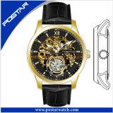 OEM het Automatische Horloge van het Skelet met de Echte Band van het Leer