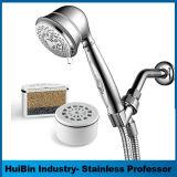 Niederschlag-Dusche-Kopf/Handkombiniertes mit der Multi-Einstellung Druckknopf-Steuerung des Datenflusses, weiß