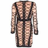 Новых женщин Lace Up контакт линии сетки порванный жгут платье черного цвета длинной втулки ночь Celebrity платья