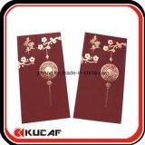 Kundenspezifischer heißer stempelnder + prägender weiche Noten-roter Papierumschlag