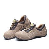 Resbalón en los zapatos de seguridad de acero del trabajo del cuero del ante de la punta