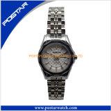 女性日本動きの水晶腕時計すべてのステンレス鋼のスイス人の腕時計