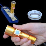 Golden Black CREE Q5 2000lm USB rechargeable en alliage torche à main Zoomable LED lampe de poche
