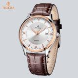 Fashion Mens Watch Face en acier inoxydable en cuir noir montre à quartz72589